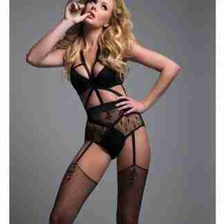 Adore Angel of Love Lace Teddy w/Adjustable & Removable Garters Black MD