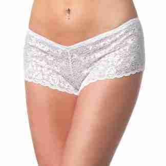 Low Rise Stretch Scallop Lace Booty Short White O/S