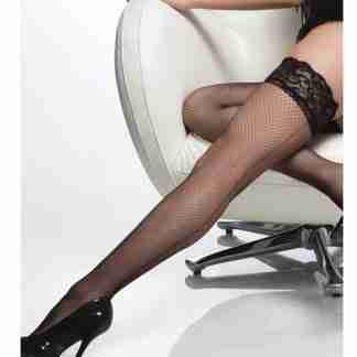 Fishnet Stay Up Silicone Lace Top Thigh High w/Back Seam Black O/S