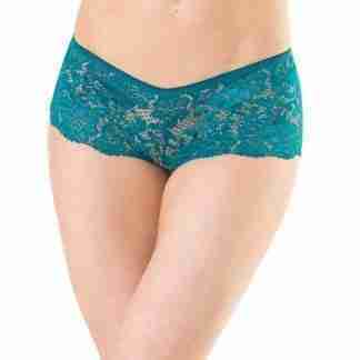 Low Rise Stretch Scallop Lace Booty Short Teal XL