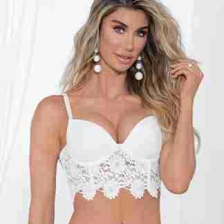 Guipure Lace & Lycra Bra w/Molded Cups & Adjustable Straps White 34