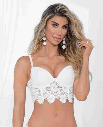 Guipure Lace & Lycra Bra w/Molded Cups & Adjustable Straps White 36