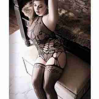 Sheer Fantasy Goodnight Kiss Caged Halter Teddy w/Attached Stockings Black QN