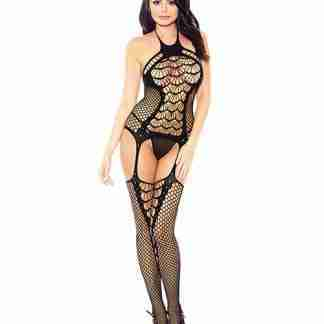 Halter Spider Web Fishnet Bodystocking Black O/S