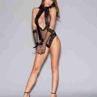 Seamless Fishnet Collared Teddy w/Tie-Neck Clsure