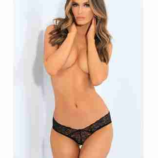 Rene Rofe All Tied Up Open Back Panty Black S/M