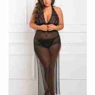 Rene Rofe All Out 2 pc Gown Set Black 1X/2X