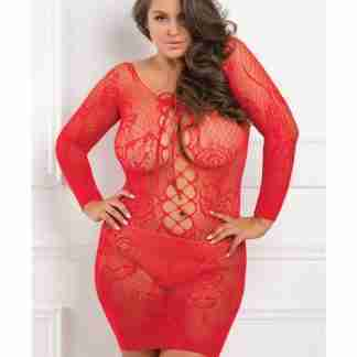 Rene Rofe Tie Breaker Long Sleeve Dress Red 1X-3X