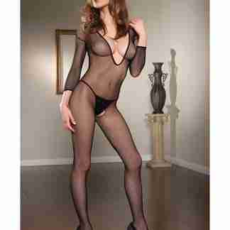 Long Sleeve Open Crotch Fishnet V-Neck Bodystocking Black O/S