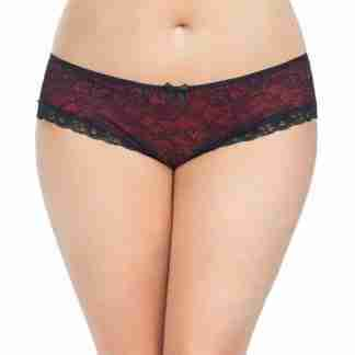 Cage Back Lace Panty Black/Red 1X/2X