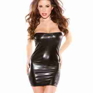 Kitten Wet Look Bandeu Dress Black O/S
