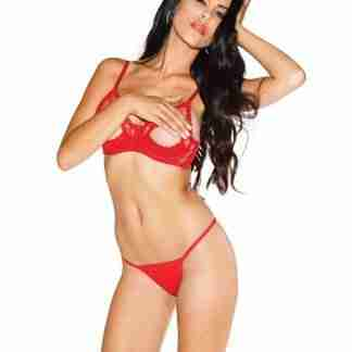 Lace Underwire Open Tip Bra w/Adjustable Straps & Back Red 38
