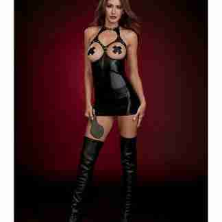Fetish Stretch Faux Leather Boob Out Chemise & Paddle Black O/S