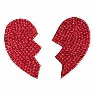 Rhinestone Broken Heart Reusable Pastie - Red O/S