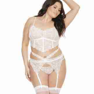 Scallop Stretch Lace Long Line Soft Cup Bra