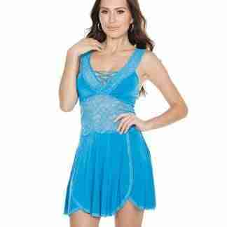 Scallop Stretch Lace & Microfiber Soft Cup Design Babydoll & Thong Blue O/S
