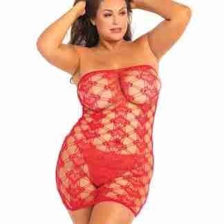 Rene Rofe Queen of Hearts Tube Dress Red 1X-3X