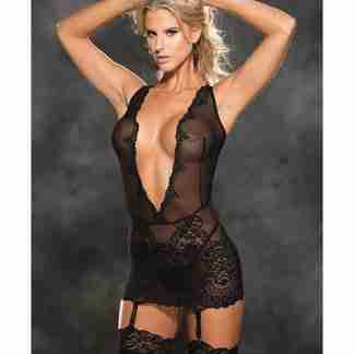 Stretch Lace Patterned Gartered Chemise & G-String Black SM