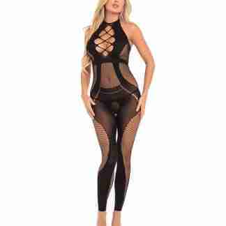 Pink Lipstick On Rails Footless Bodystocking Black M/L