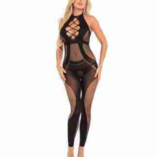 Pink Lipstick On Rails Footless Bodystocking Black S/M