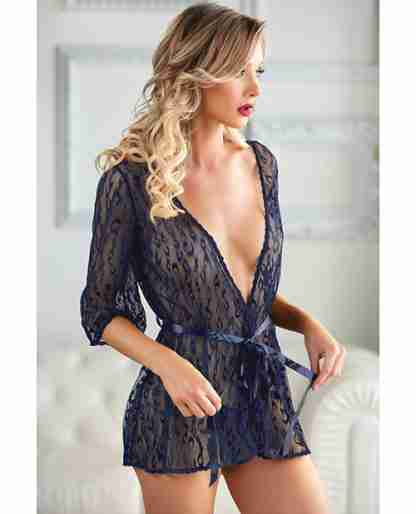 Allure Valentina Leopard Lace Robe & G-String Azure O/S