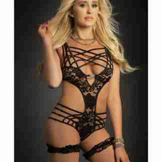 Caged Teddy & Lace Garters Black O/S