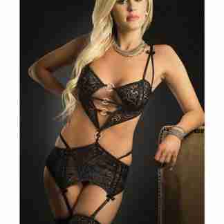 Low Rise Waist Garter w/Connected Cropped Top & Stockings Black O/S