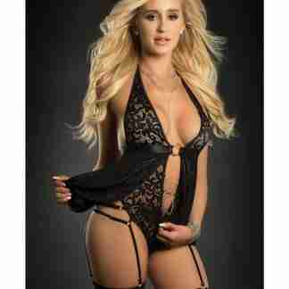 O Ring Babydoll Zip Crotch Teddy & Stockings Black O/S
