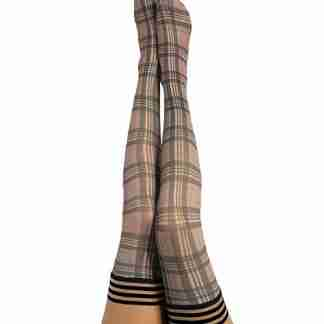 Kix'ies Lori Plaid Thigh Highs Tan A