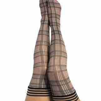 Kix'ies Lori Plaid Thigh Highs Tan D