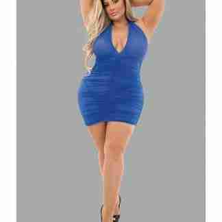 Euphoria Halter Rouched Chemise Royal QN