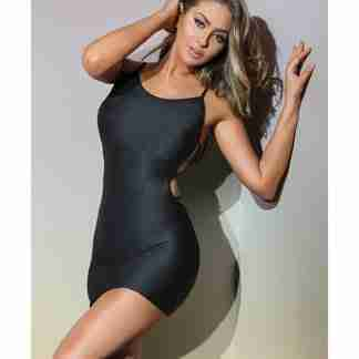 Bold Stretch Knit Fitted Reversible Dress & G-String Black O/S